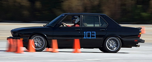 Andy's wife autocrossing his 1988 BMW M5.